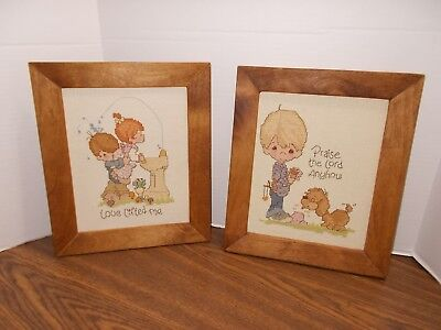 2 PRECIOUS MOMENTS Counted Cross Stitch Completed & Framed Love Lifted & Praise