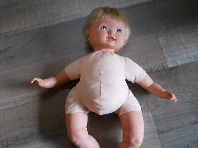 Vintage CITITOY Soft Body Blonde Baby Doll 1998 BS132 Silicone Blue Eyes