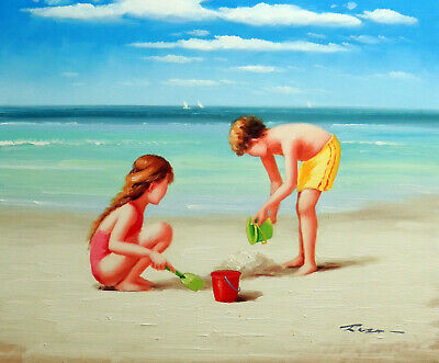 Boy & Girl Beach Children Kids Playing Sand Surf Stretched 20X24 Oil Painting