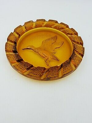 Vintage Retro Amber Art Glass Multi-Rest Ashtray Dish Raised Flying Duck Heavy
