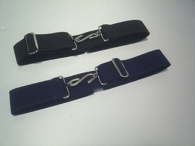 elastic belts boys or girls with snake buckle school colours black & navy