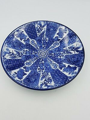 Antique Japanese Arita Meiji Blue & White Porcelain Plate Dish Floral Geometric