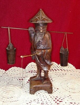 Hand Carved Wooden Chinese Wise Man holding pole- Shou Lao Figurine w water pots