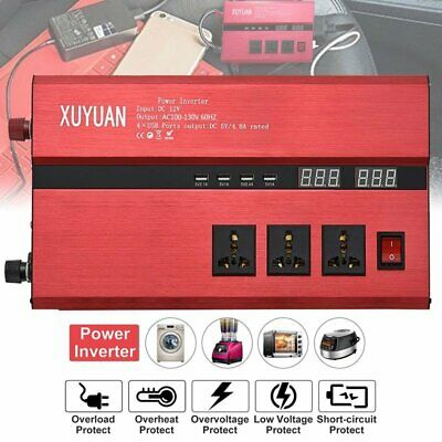 10000W Car Solar Power Inverter 4USB DC12/24V To AC110V/220V Sine Wave Converter