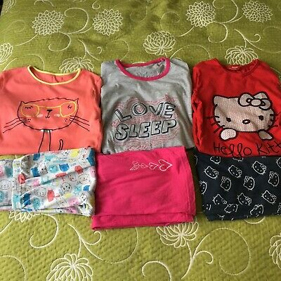 Girls 3 Sets Of Long Sleeved Long Legged Pyjamas Incl Hello Kitty 10-11 Y