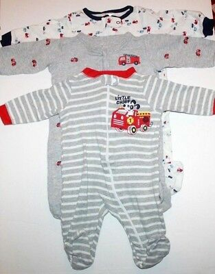 2258f6f04 Lot Of 3 Baby Boys 0-3 Months Footed Long Sleeve Pajamas Firetrucks Puppy