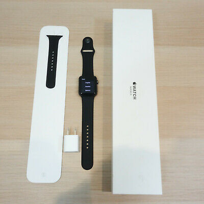 Apple Watch Series 3 42mm Space Gray Black Sport Band MQL12LL/A CRACKED Screen