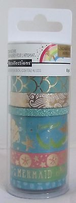 Recollections Crafting Washi Tape ENCHANTING MERMAID Foil Glitter Gold Set 8 pcs