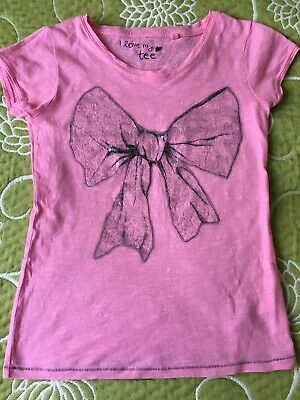 Next Girls Pink Cotton Summer Short Sleeved Top Sequins Bow Picture 9 Y