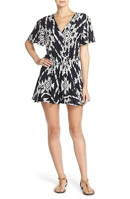 FRAICHE BY J Wrap Front Romper Black and White Print  in SIZE SMALL