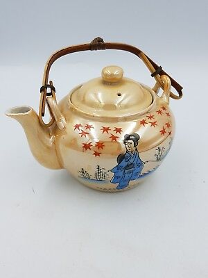 Japanese Porcelain Orange Lustre Teapot W/Strainer Geisha Bamboo Handle