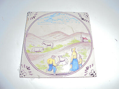 28084 Kachel Fliese tile very good Landschaft aus Fliesentisch 1930 13x13cm