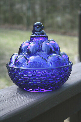 "Vntg Glass Cobalt Blue Large Chicken Covered Candy Dish Westmoreland 6"" x 6"""