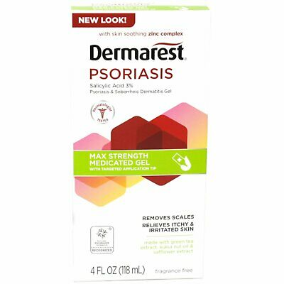 Dermarest Psoriasis Max Strength Medicated Gel Itch Relief 4 oz (Pack of 5)