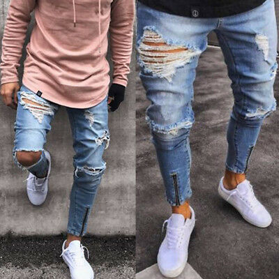 Mens Distressed Jeans Frayed Ripped Denim Pants Rinsewash All Waist Fit Trousers