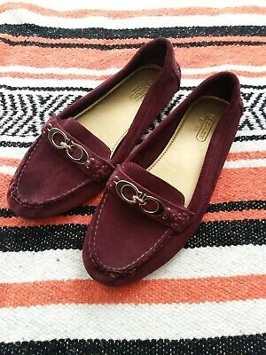 199fbbd5af1 Coach Fortunata Suede Leather Slip On Moccasins Loafers Size 7B A4481