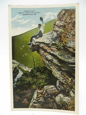 Vintage Early 1900's Postcard - Man on Top of Lover's Leap, Cumberland, MD