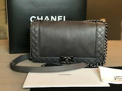 d9cd8f35b23b Chanel Boy Medium Reverso Quilted Ruthenium Gray Calf Leather Shoulder Bag  AUTHE