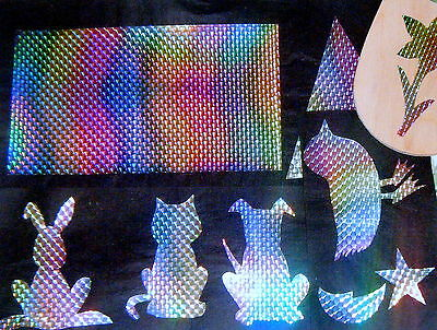 prismatic glitter- iron on.transfer material for fabric cut shapes and iron on