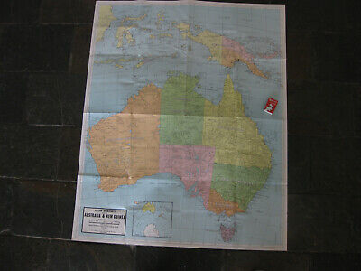 Vintage MAP of AUSTRALIA AND NEW GUINEA PNG wall map geography C.1970's