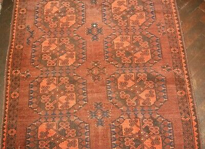 Old Afghan Rug 210 x 114 7' x 4' 1 Excellent Condition