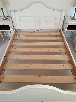 Double Bed. White Pine Distressed Vintage Chic French Country Style Ivory Cream