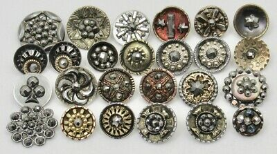 Antique Vintage Victorian Buttons w/CUT STEELS ~ Mixed Lot of 25; Some Pairs