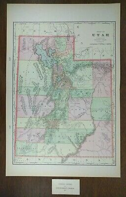 "UTAH 1900 Vintage State Atlas Map 14""x22"" Old Antique Original BEAVER OGDEN MOAB"