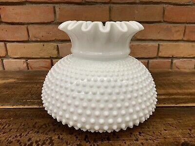 "Vintage Opal Milk Glass Lamp Shade Hobnail Ruffled 6 9/16"" Fitter"