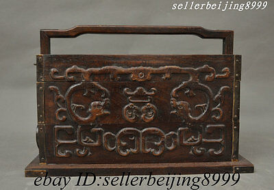 "13"" Old China Dynasty Palace Auspicious Lucky Huali Wood Dragon Beast Lunch Box"