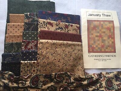 "January Thaw Gathering Friends Quilt Kit 68""x83"" Deborah Jacobs Fabric & Pattern"
