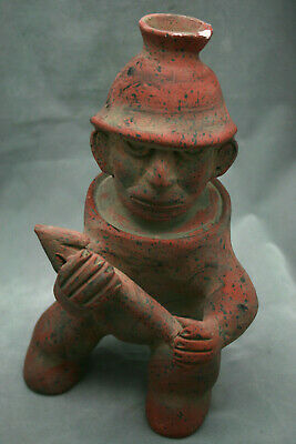 "Vintage Clay Pottery Mexican Warrior Mayan Aztec Folk Art 11"" Tall Very Cool!"