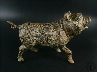 Large Fine Old Chinese Bronze Made Pot Vase Statue AUSPICIOUS PIG STYLE