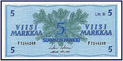 Finland 5 Markkaa 1963 Litt. B (P-99a) - Beautiful!