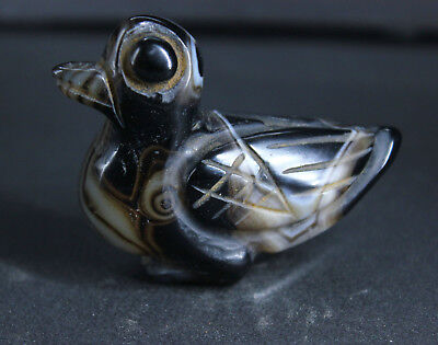 6cm Old China Natural agate Necklace Hand-carved duck statue Pendant amulet