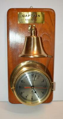 Plastimo Quartz Solid Brass Ship's Bell Striking Maritime Clock w Bell works
