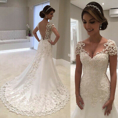 7eeb1427d3b White Ivory Lace Mermaid Wedding Dresses Short Sleeves Backless Bridal  Gowns New