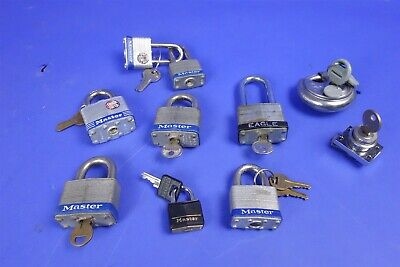 Large Lot of Master keyed Padlocks Master etc with Keys