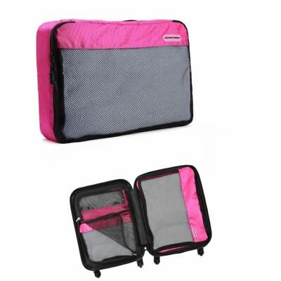 Pink Organizer Backpack Set Travel Pouch Storage Packing Suitcase Luggage 3pcs