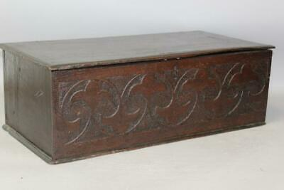 Rare Pilgrim Period 17Th C Carved English Bible Box Or Desk Box In Old Surface