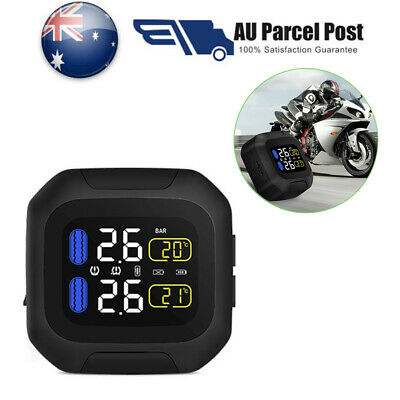 Motorcycle TPMS Tire Tyre Temp Pressure Monitoring System +2 Sensor Waterproof