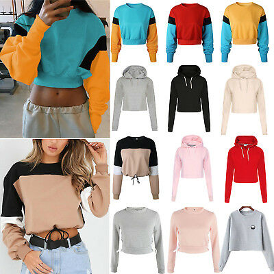 a09a9ddf54f Womens Long Sleeve Hoodie Crop Tops Sweatshirt Casual Jumper Pullover  Sweater