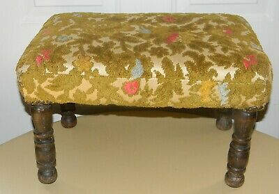"""Vintage Antique Upholstered Footstool Bench 18"""" Long 10 1/2"""" Tall Wood Legs"""