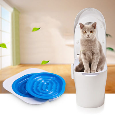 Cat Kitty Toilet Training Kit Pet Trainer Puppy Litter Box Tray ABS Pan Material