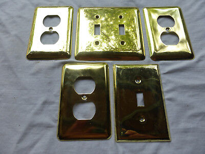 5 Vintage Polished Brass Switch  and Outlet Covers