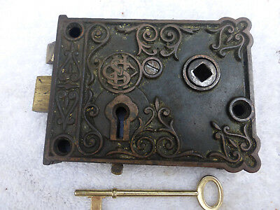 Vintage Antique Ornate Cast Iron Rim Lock ITEM 109 D
