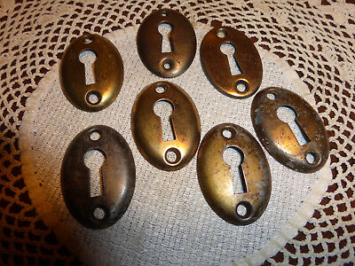 SEVEN Brass Plated Oval Key Hole Escutcheons covers parts SET 518 A