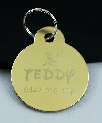 Pet Tag Personalised Deep Metal Engraved Solid Brass Dog Cat Id Tag Round Small