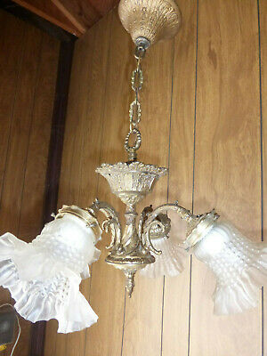Vintage Antique Brass 4 Arm Chandelier Pendant Fixture