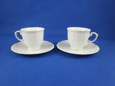 Two (2) Scalloped White Porcelain Footed Cup and Saucer Sets